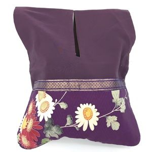 Handbags - Purple kimono style floral cloth bag